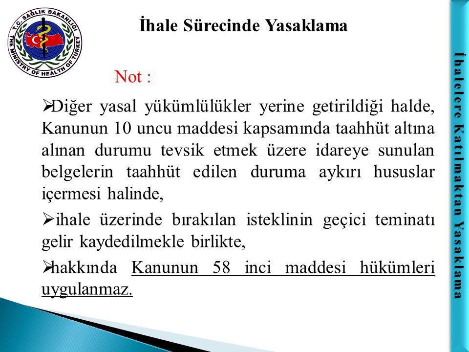 İhalelere Katılmaktan Yasaklama İhale Sürecinde Yasaklama Madde 59;  Taahhüt tamamlandıktan ve kabul işlemi yapıldıktan sonra tespit edilmiş olsa dahi, 17 nci maddede belirtilen fiil veya davranışlardan Türk Ceza Kanununa göre suç teşkil eden fiil veya davranışlarda bulunan gerçek veya tüzel kişiler ile o işteki ortak veya vekilleri hakkında TCK hükümlerine göre ceza kovuşturması yapılmak üzere yetkili Cumhuriyet Savcılığına suç duyurusunda bulunulur.