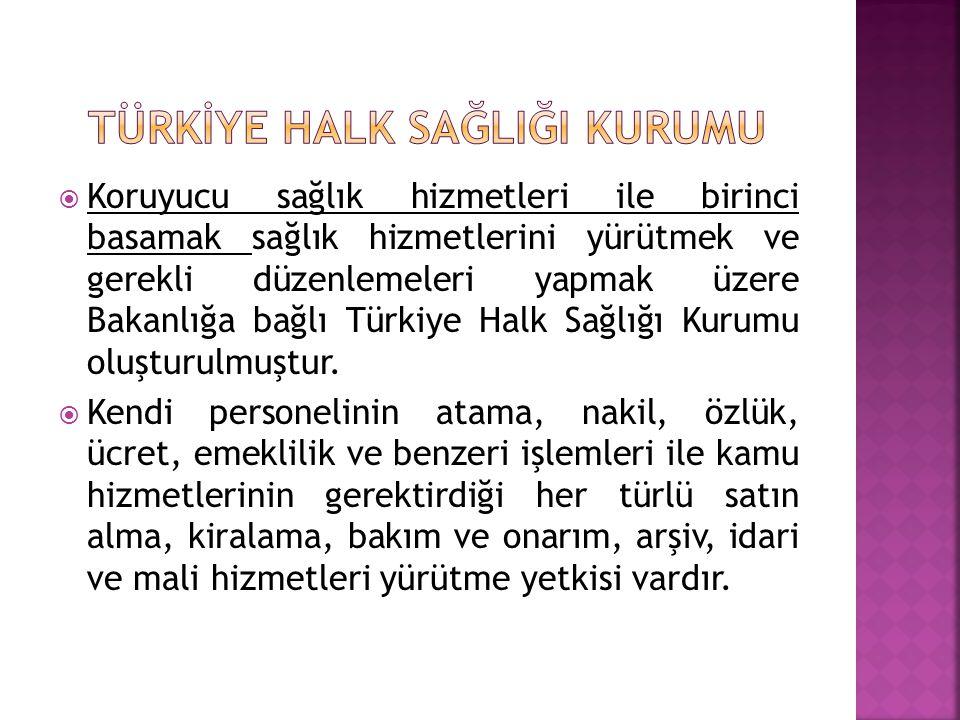  Koruyucu sağlık hizmetleri ile birinci basamak sağlık hizmetlerini yürütmek ve gerekli düzenlemeleri yapmak üzere Bakanlığa bağlı Türkiye Halk Sağlı