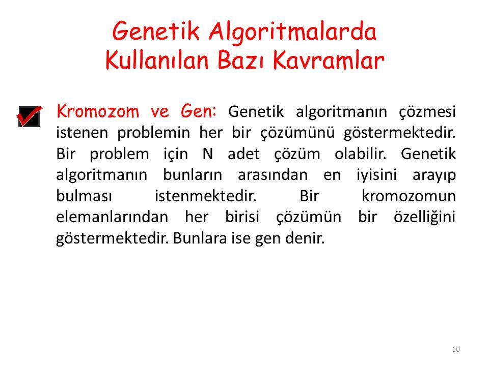 Genetik Algoritmalarda Kullanılan Bazı Kavramlar 10 Kromozom ve Gen: Genetik algoritmanın çözmesi istenen problemin her bir çözümünü göstermektedir. B