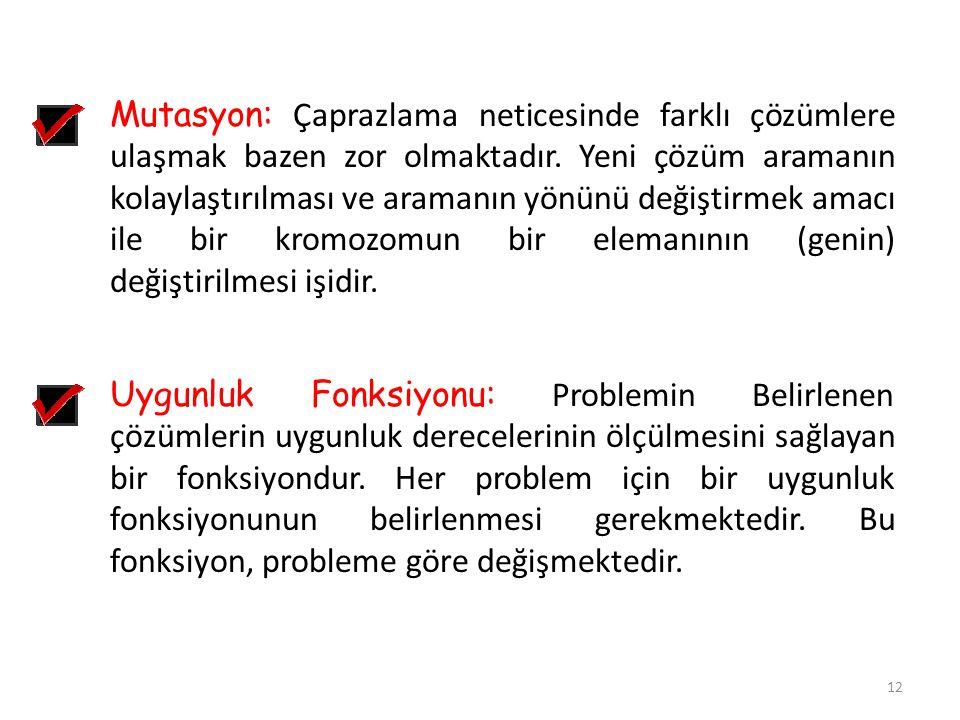 12 Uygunluk Fonksiyonu: Problemin Belirlenen çözümlerin uygunluk derecelerinin ölçülmesini sağlayan bir fonksiyondur. Her problem için bir uygunluk fo