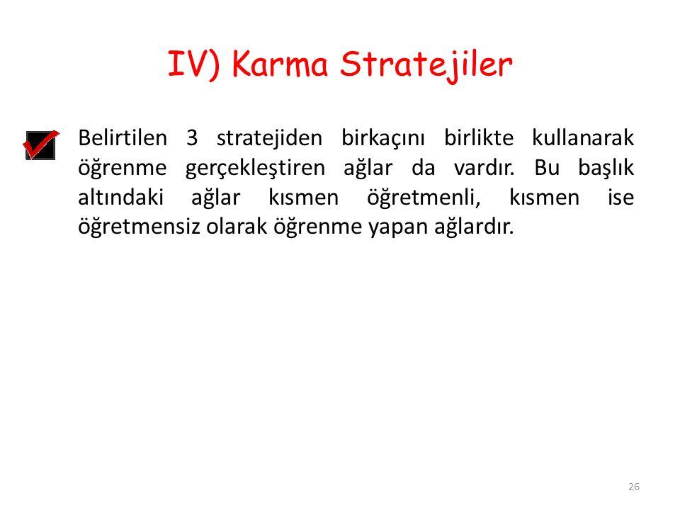 IV) Karma Stratejiler 26 Belirtilen 3 stratejiden birkaçını birlikte kullanarak öğrenme gerçekleştiren ağlar da vardır. Bu başlık altındaki ağlar kısm