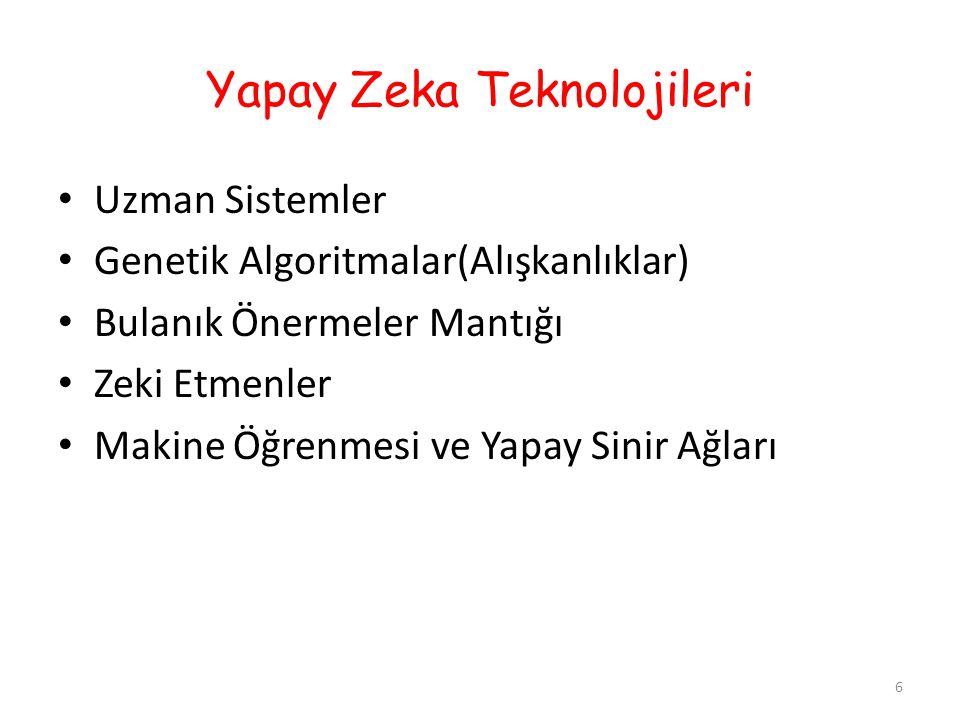 IV)Zeki Etmenler 17 Bağımsız kararlar verebilen bilgisayar sistemleridir.