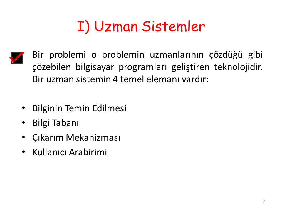 I) Uzman Sistemler 7 Bir problemi o problemin uzmanlarının çözdüğü gibi çözebilen bilgisayar programları geliştiren teknolojidir. Bir uzman sistemin 4