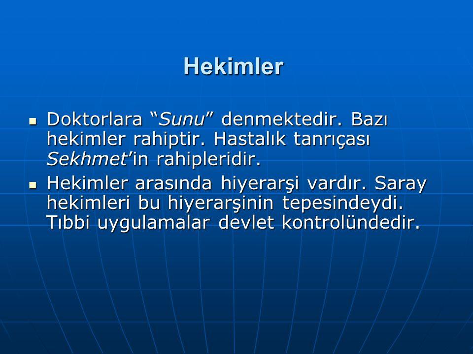 """Hekimler  Doktorlara """"Sunu"""" denmektedir. Bazı hekimler rahiptir. Hastalık tanrıçası Sekhmet'in rahipleridir.  Hekimler arasında hiyerarşi vardır. Sa"""