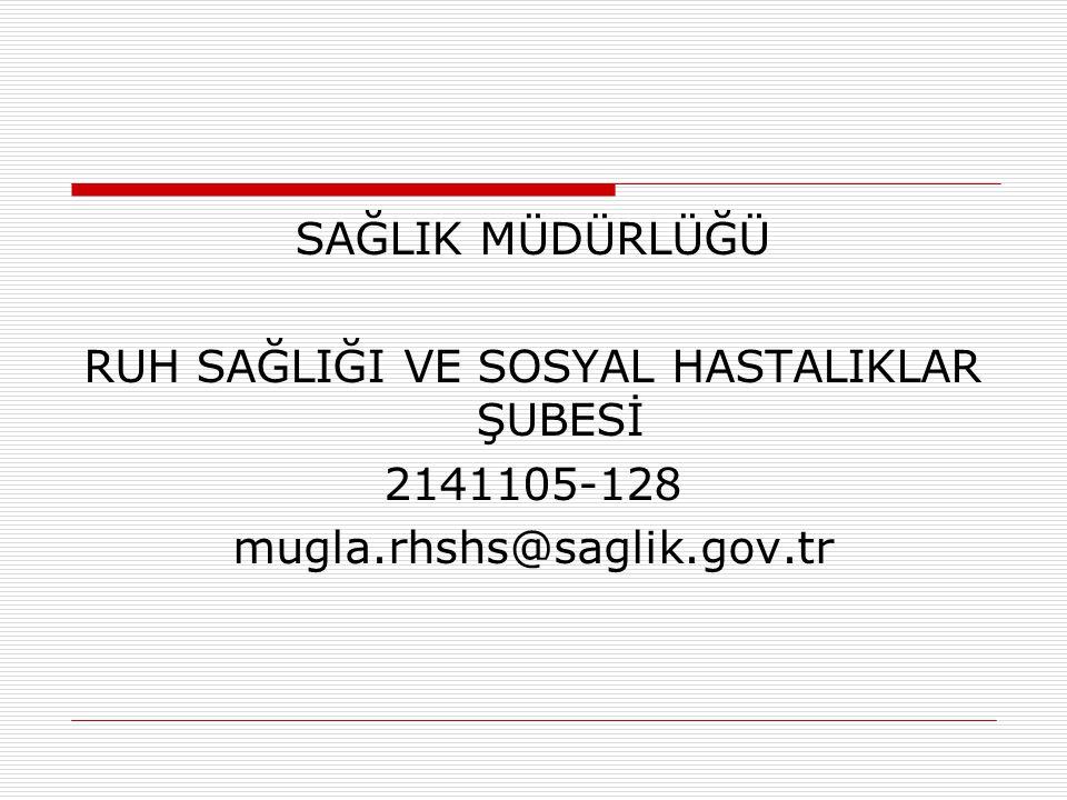 SAĞLIK MÜDÜRLÜĞÜ RUH SAĞLIĞI VE SOSYAL HASTALIKLAR ŞUBESİ 2141105-128 mugla.rhshs@saglik.gov.tr