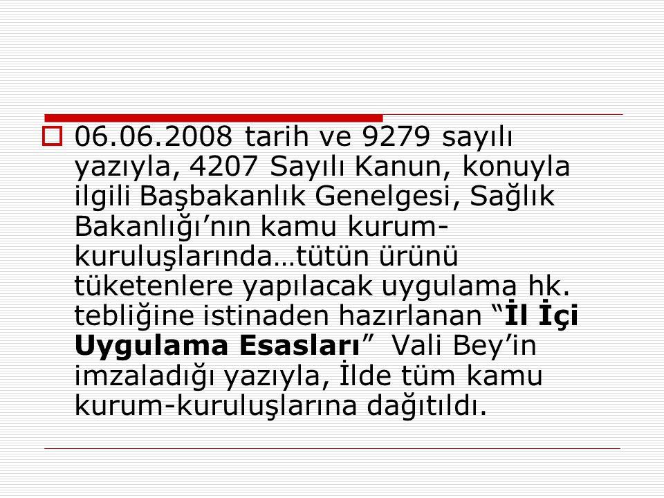  06.06.2008 tarih ve 9279 sayılı yazıyla, 4207 Sayılı Kanun, konuyla ilgili Başbakanlık Genelgesi, Sağlık Bakanlığı'nın kamu kurum- kuruluşlarında…tü