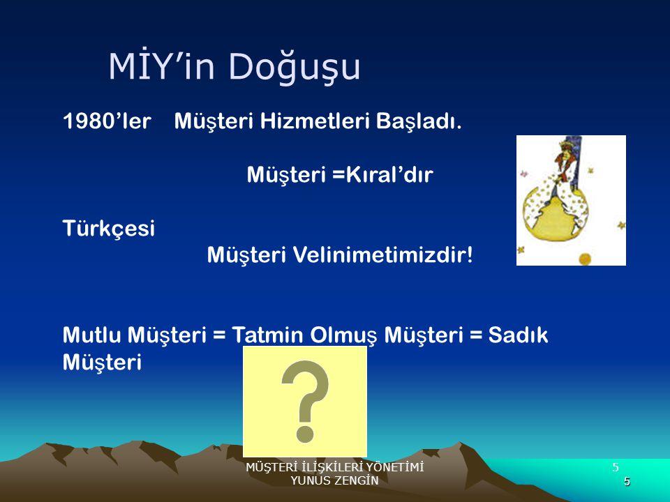 5 MÜŞTERİ İLİŞKİLERİ YÖNETİMİ YUNUS ZENGİN 5 1980'ler Mü ş teri Hizmetleri Ba ş ladı. Mü ş teri =Kıral'dır Türkçesi Mü ş teri Velinimetimizdir! Mutlu
