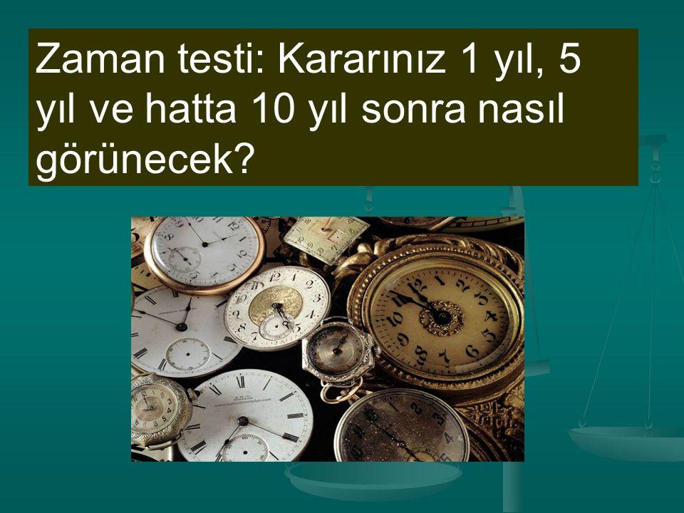 Zaman testi: Kararınız 1 yıl, 5 yıl ve hatta 10 yıl sonra nasıl görünecek?