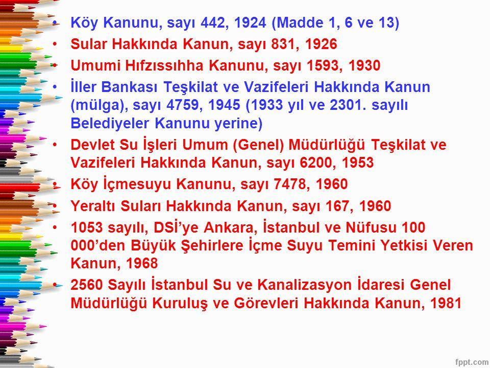•Köy Kanunu, sayı 442, 1924 (Madde 1, 6 ve 13) •Sular Hakkında Kanun, sayı 831, 1926 •Umumi Hıfzıssıhha Kanunu, sayı 1593, 1930 •İller Bankası Teşkila