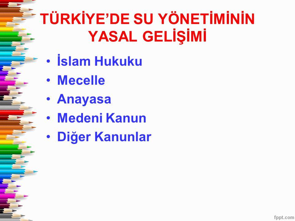 TÜRKİYE'DE SU YÖNETİMİNİN YASAL GELİŞİMİ •İslam Hukuku •Mecelle •Anayasa •Medeni Kanun •Diğer Kanunlar