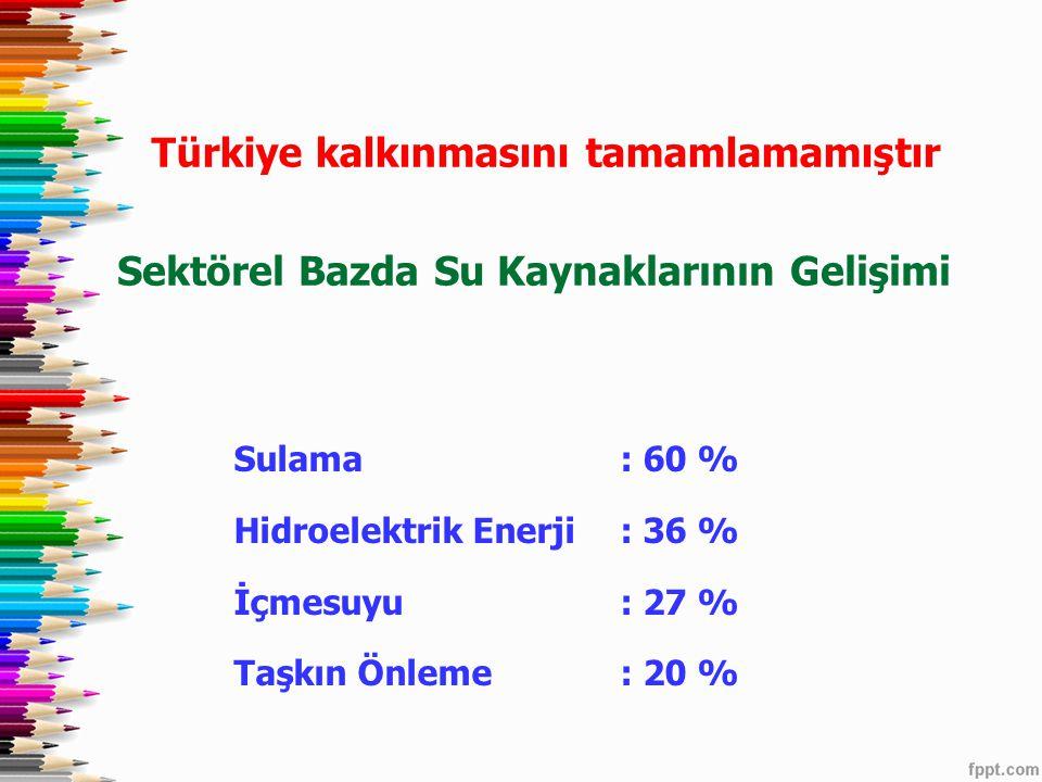Sektörel Bazda Su Kaynaklarının Gelişimi Sulama : 60 % Hidroelektrik Enerji : 36 % İçmesuyu: 27 % Taşkın Önleme: 20 % Türkiye kalkınmasını tamamlamamı