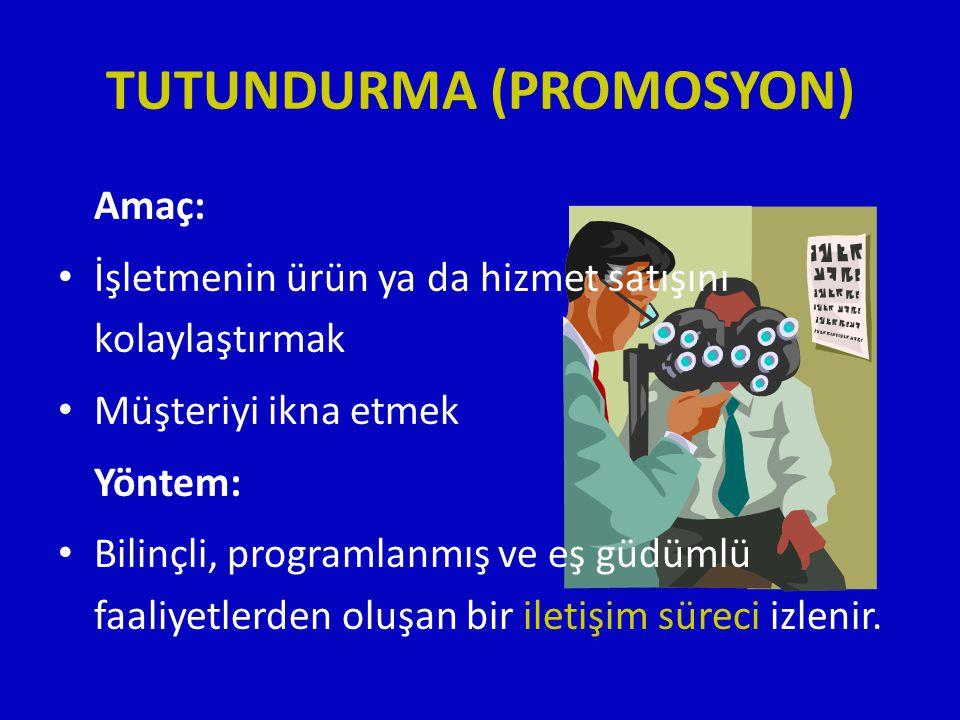 TUTUNDURMA (PROMOSYON) Amaç: • İşletmenin ürün ya da hizmet satışını kolaylaştırmak • Müşteriyi ikna etmek Yöntem: • Bilinçli, programlanmış ve eş güd