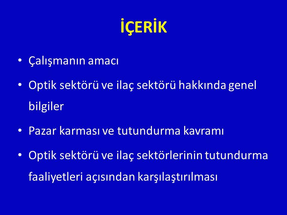 ÇALIŞMANIN AMACI • Türkiye' de optik sektörüne ilişkin literatürde var olan eksikliklerin tamamlanması • İlaç sektörü ile Optik sektörünün karşılaştırılması • Optik sektöründe yürütülen reklam faaliyetlerinin değerlendirilmesi