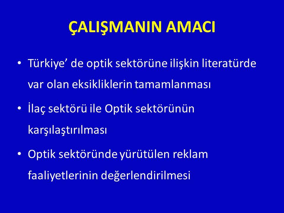 ÇALIŞMANIN AMACI • Türkiye' de optik sektörüne ilişkin literatürde var olan eksikliklerin tamamlanması • İlaç sektörü ile Optik sektörünün karşılaştır