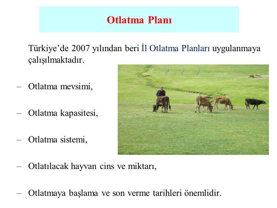 Türkiye'de 2007 yılından beri İl Otlatma Planları uygulanmaya çalışılmaktadır. –Otlatma mevsimi, –Otlatma kapasitesi, –Otlatma sistemi, –Otlatılacak h