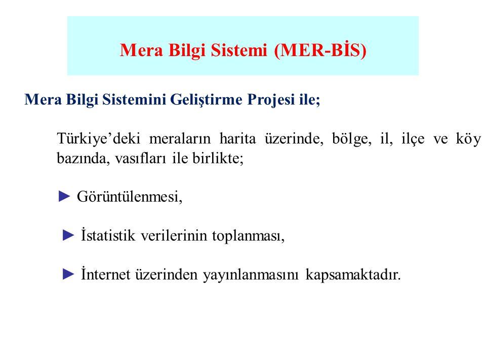 Mera Bilgi Sistemi (MER-BİS) Mera Bilgi Sistemini Geliştirme Projesi ile; Türkiye'deki meraların harita üzerinde, bölge, il, ilçe ve köy bazında, vası