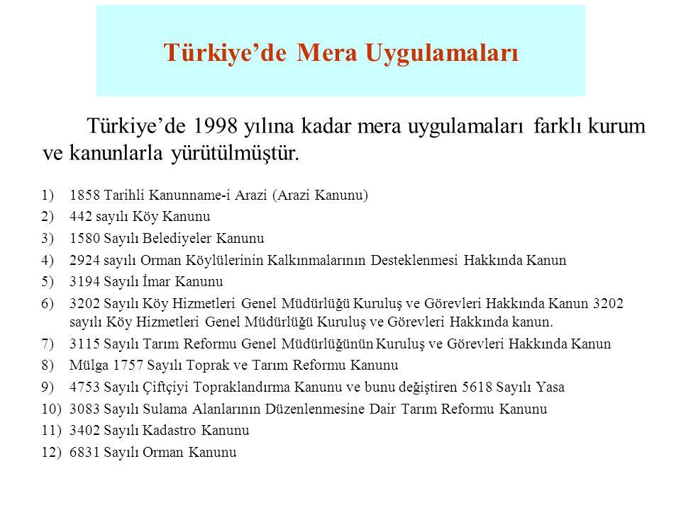 Türkiye'de Mera Uygulamaları 1998 tarihinde yürürlüğe giren 4342 sayılı Mera Kanunu ile; •Mera çalışmaları ile ilgili faaliyetlerin hepsi Gıda, Tarım ve Hayvancılık Bakanlığı'na verilmiştir.