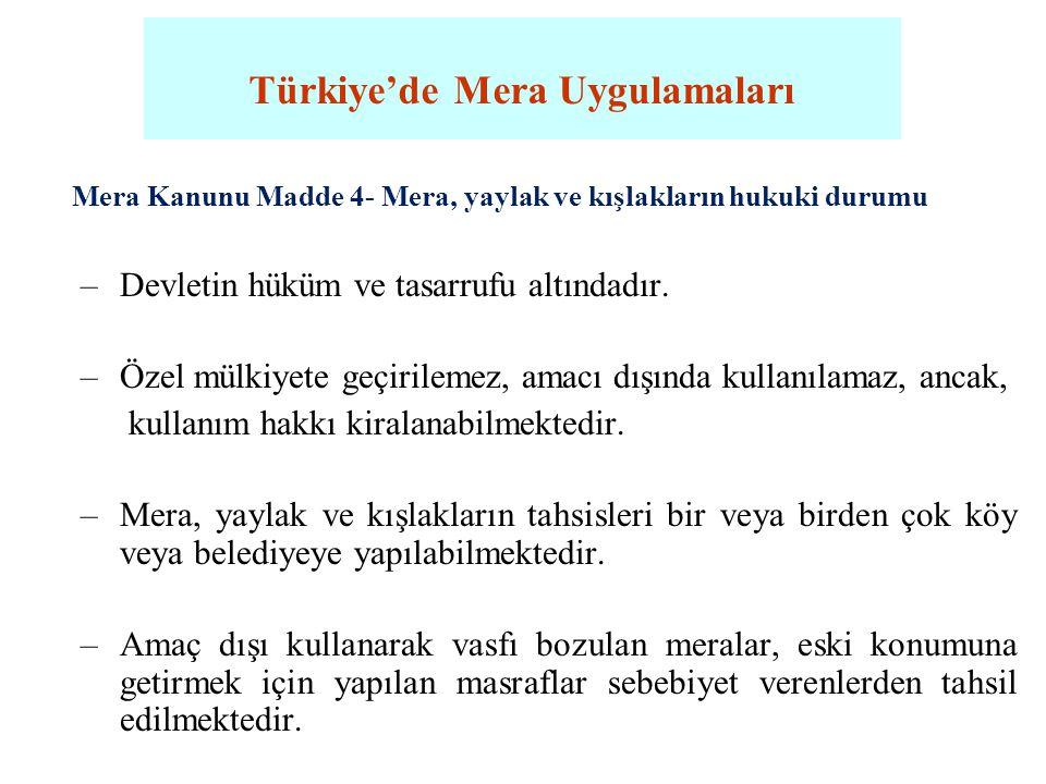 Türkiye'de Mera Uygulamaları Mera Kanunu Madde 4- Mera, yaylak ve kışlakların hukuki durumu –Devletin hüküm ve tasarrufu altındadır. –Özel mülkiyete g