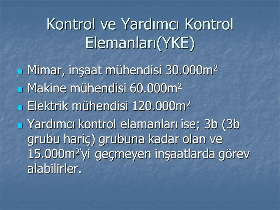 Kontrol ve Yardımcı Kontrol Elemanları(YKE)  Mimar, inşaat mühendisi 30.000m 2  Makine mühendisi 60.000m 2  Elektrik mühendisi 120.000m 2  Yardımc