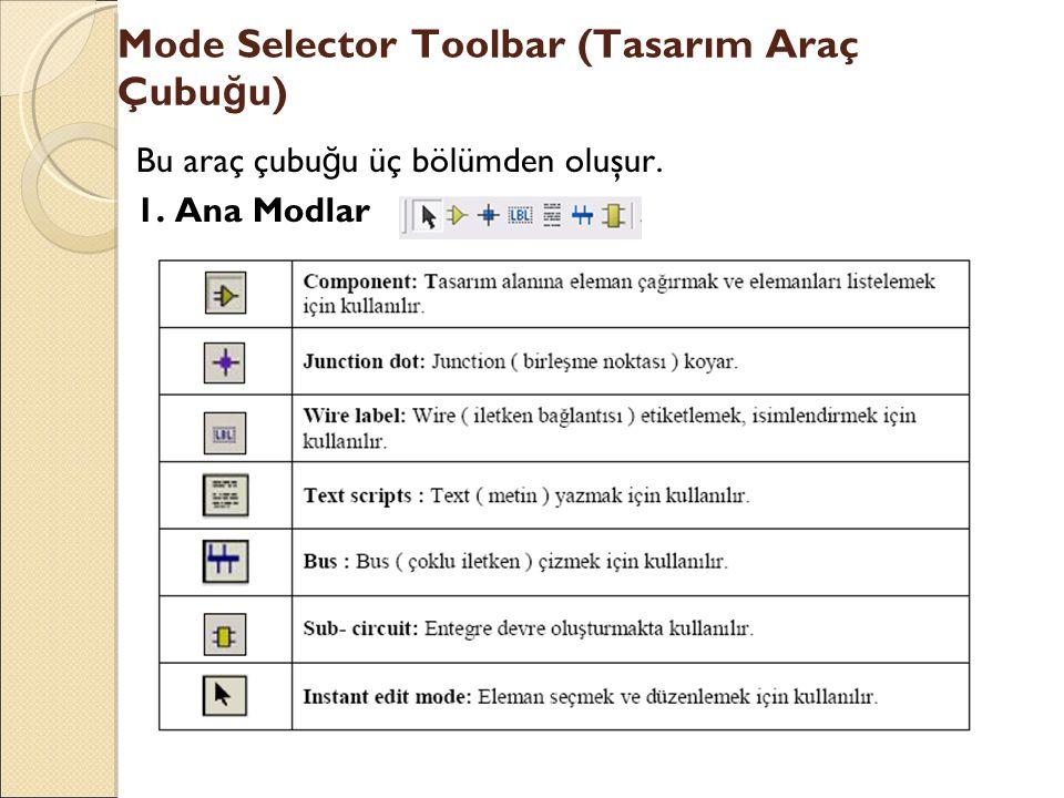 Mode Selector Toolbar (Tasarım Araç Çubu ğ u) Bu araç çubu ğ u üç bölümden oluşur. 1. Ana Modlar