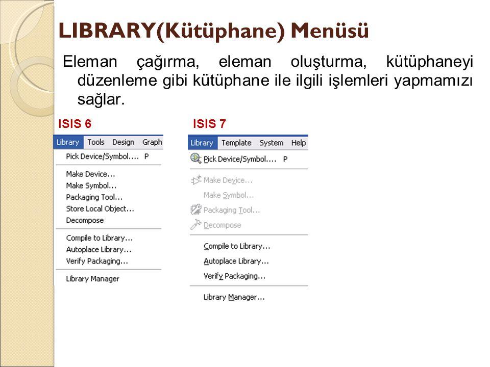 LIBRARY(Kütüphane) Menüsü Eleman çağırma, eleman oluşturma, kütüphaneyi düzenleme gibi kütüphane ile ilgili işlemleri yapmamızı sağlar. ISIS 6ISIS 7