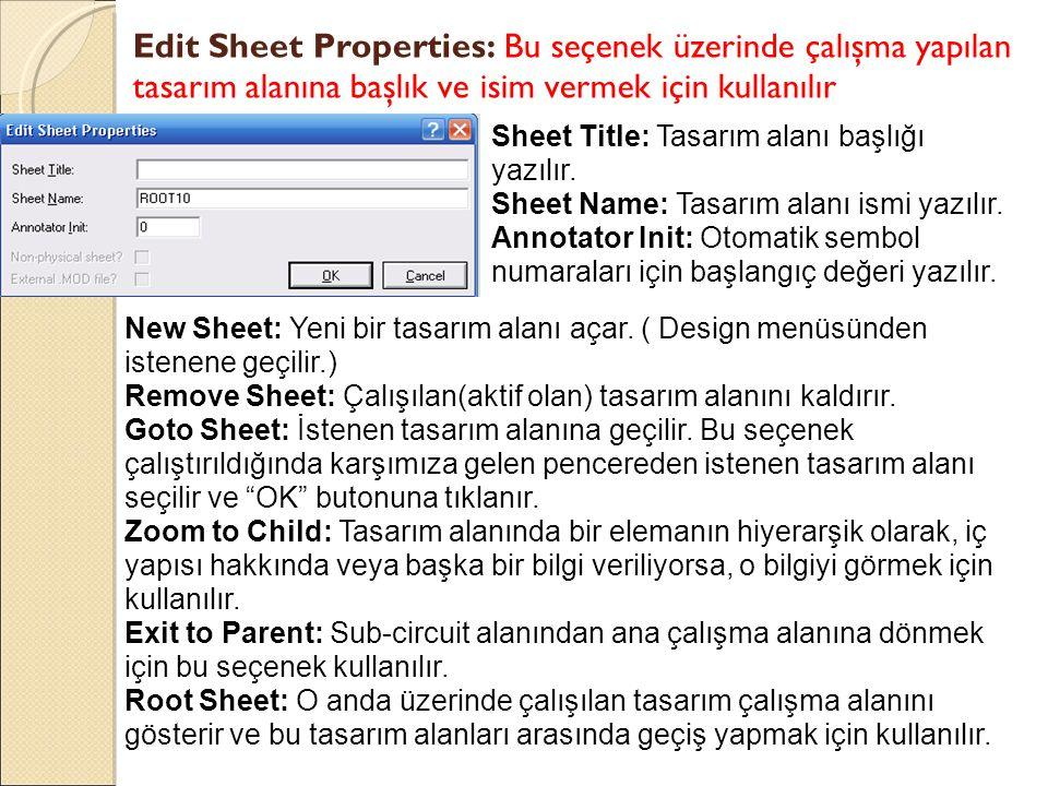 Edit Sheet Properties: Bu seçenek üzerinde çalışma yapılan tasarım alanına başlık ve isim vermek için kullanılır Sheet Title: Tasarım alanı başlığı ya