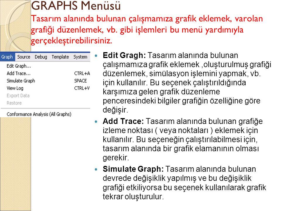 GRAPHS Menüsü Tasarım alanında bulunan çalışmamıza grafik eklemek, varolan grafi ğ i düzenlemek, vb. gibi işlemleri bu menü yardımıyla gerçekleştirebi