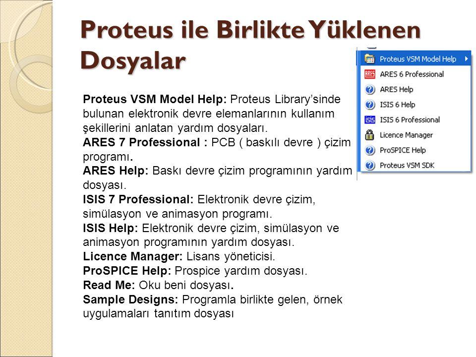Proteus ile Birlikte Yüklenen Dosyalar Proteus VSM Model Help: Proteus Library'sinde bulunan elektronik devre elemanlarının kullanım şekillerini anlat