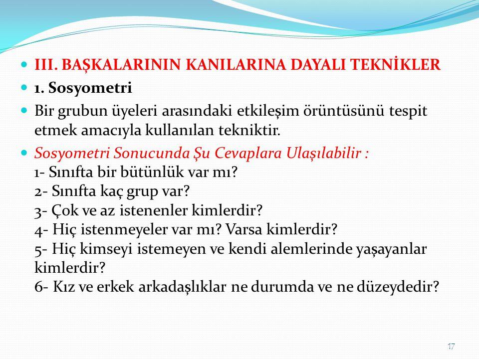  III.BAŞKALARININ KANILARINA DAYALI TEKNİKLER  1.