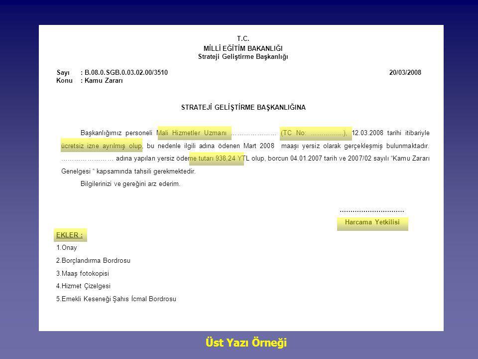 T.C. MİLLÎ EĞİTİM BAKANLIĞI Strateji Geliştirme Başkanlığı Sayı: B.08.0.SGB.0.03.02.00/3510 20/03/2008 Konu : Kamu Zararı STRATEJİ GELİŞTİRME BAŞKANLI