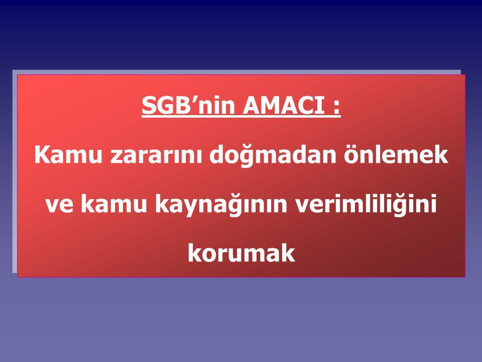 SGB'nin AMACI : Kamu zararını doğmadan önlemek ve kamu kaynağının verimliliğini korumak SGB'nin AMACI : Kamu zararını doğmadan önlemek ve kamu kaynağının verimliliğini korumak