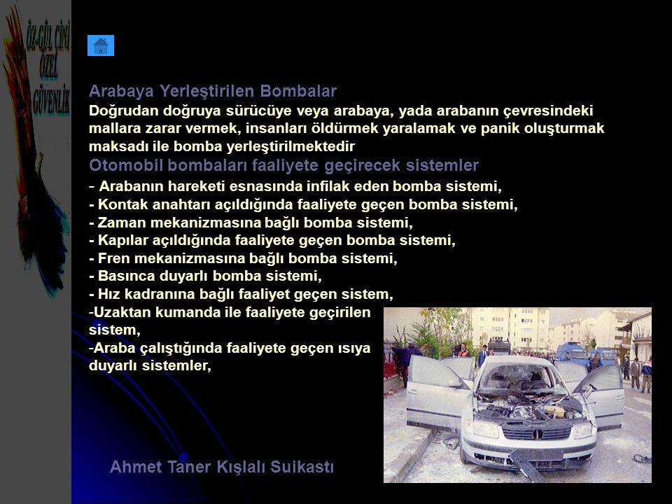 Arabaya Yerleştirilen Bombalar Doğrudan doğruya sürücüye veya arabaya, yada arabanın çevresindeki mallara zarar vermek, insanları öldürmek yaralamak v