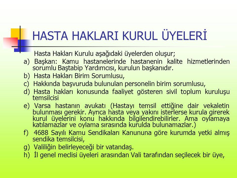 HASTA HAKLARI KURUL ÜYELERİ Hasta Hakları Kurulu aşağıdaki üyelerden oluşur; a) Başkan: Kamu hastanelerinde hastanenin kalite hizmetlerinden sorumlu B