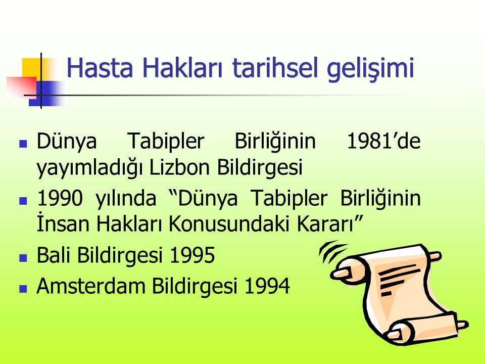 """Hasta Hakları tarihsel gelişimi  Dünya Tabipler Birliğinin 1981'de yayımladığı Lizbon Bildirgesi  1990 yılında """"Dünya Tabipler Birliğinin İnsan Hakl"""