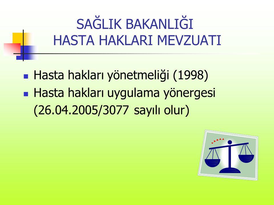 SAĞLIK BAKANLIĞI HASTA HAKLARI MEVZUATI  Hasta hakları yönetmeliği (1998)  Hasta hakları uygulama yönergesi (26.04.2005/3077 sayılı olur)