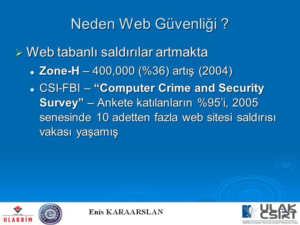 """Neden Web Güvenliği ?  Web tabanlı saldırılar artmakta  Zone-H – 400,000 (%36) artış (2004)  CSI-FBI – """"Computer Crime and Security Survey"""" – Anket"""