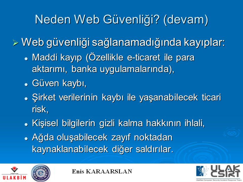 Neden Web Güvenliği? (devam)  Web güvenliği sağlanamadığında kayıplar:  Maddi kayıp (Özellikle e-ticaret ile para aktarımı, banka uygulamalarında),