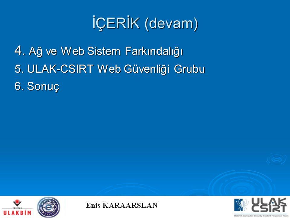 İÇERİK (devam) 4. Ağ ve Web Sistem Farkındalığı 5. ULAK-CSIRT Web Güvenliği Grubu 6. Sonuç