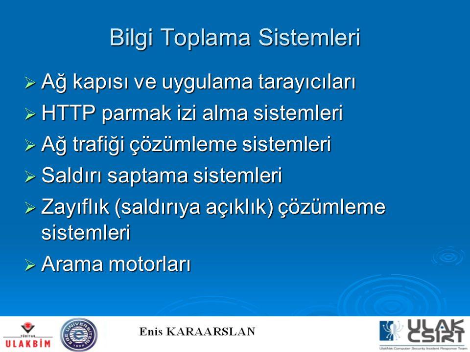 Bilgi Toplama Sistemleri  Ağ kapısı ve uygulama tarayıcıları  HTTP parmak izi alma sistemleri  Ağ trafiği çözümleme sistemleri  Saldırı saptama si