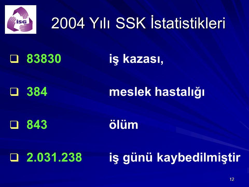 12 2004 Yılı SSK İstatistikleri 2004 Yılı SSK İstatistikleri   83830 iş kazası,   384 meslek hastalığı   843 ölüm   2.031.238 iş günü kaybedil