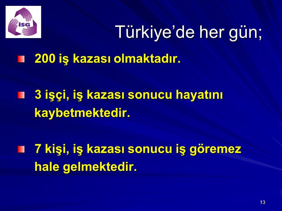13 Türkiye'de her gün; 200 iş kazası olmaktadır. 200 iş kazası olmaktadır. 3 işçi, iş kazası sonucu hayatını 3 işçi, iş kazası sonucu hayatını kaybetm