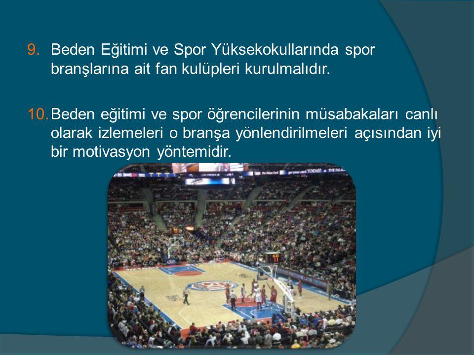 9.Beden Eğitimi ve Spor Yüksekokullarında spor branşlarına ait fan kulüpleri kurulmalıdır. 10.Beden eğitimi ve spor öğrencilerinin müsabakaları canlı