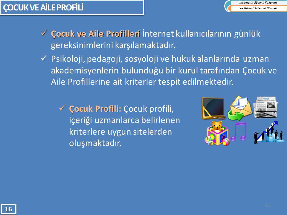  Çocuk Profili:  Çocuk Profili: Çocuk profili, içeriği uzmanlarca belirlenen kriterlere uygun sitelerden oluşmaktadır.  Çocuk ve Aile Profilleri 