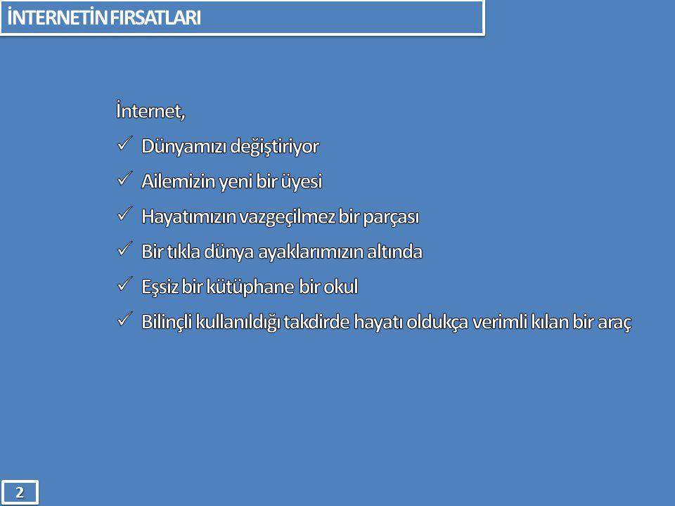 TEMEL NOKTALAR 1.Bilgisayarınızı Yaşam Alanınıza Taşıyın 2.Süre Sınırlaması Yapın 3.İnternet Arkadaşlarını İyi Tanıyın 4.Kişisel Bilgilerini Paylaşmamasına Dikkat Edin EN ÖNEMLİSİ BİLİNÇLİ BİR EBEVEYNİN DİKKATİNE .