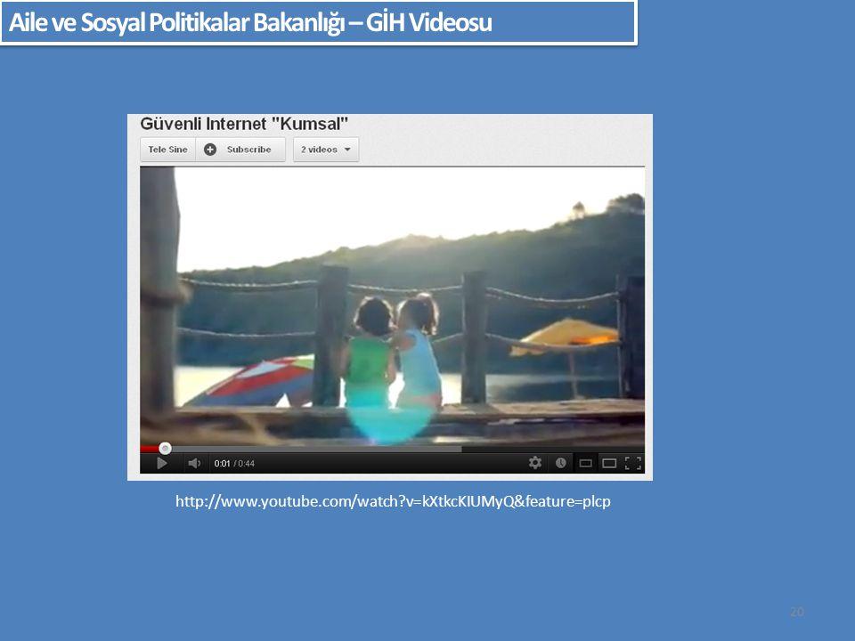 20 Aile ve Sosyal Politikalar Bakanlığı – GİH Videosu http://www.youtube.com/watch?v=kXtkcKIUMyQ&feature=plcp