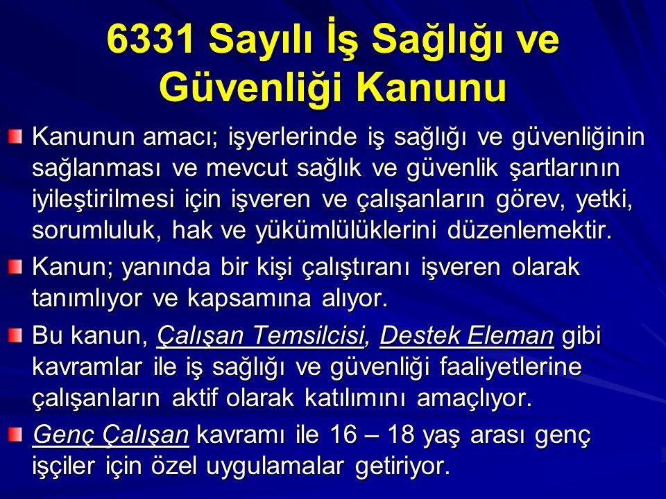 6331 Sayılı İş Sağlığı ve Güvenliği Kanunu Kanunun amacı; işyerlerinde iş sağlığı ve güvenliğinin sağlanması ve mevcut sağlık ve güvenlik şartlarının