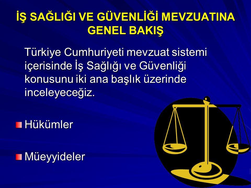 İŞ SAĞLIĞI VE GÜVENLİĞİ MEVZUATINA GENEL BAKIŞ Türkiye Cumhuriyeti mevzuat sistemi içerisinde İş Sağlığı ve Güvenliği konusunu iki ana başlık üzerinde inceleyeceğiz.