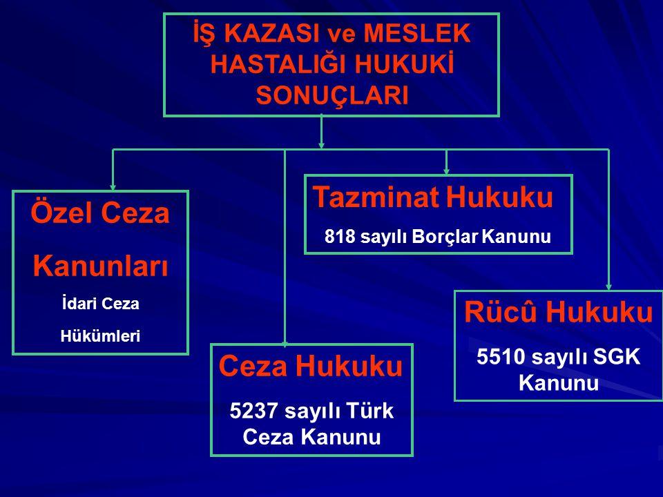 İŞ KAZASI ve MESLEK HASTALIĞI HUKUKİ SONUÇLARI Ceza Hukuku 5237 sayılı Türk Ceza Kanunu Tazminat Hukuku 818 sayılı Borçlar Kanunu Rücû Hukuku 5510 say