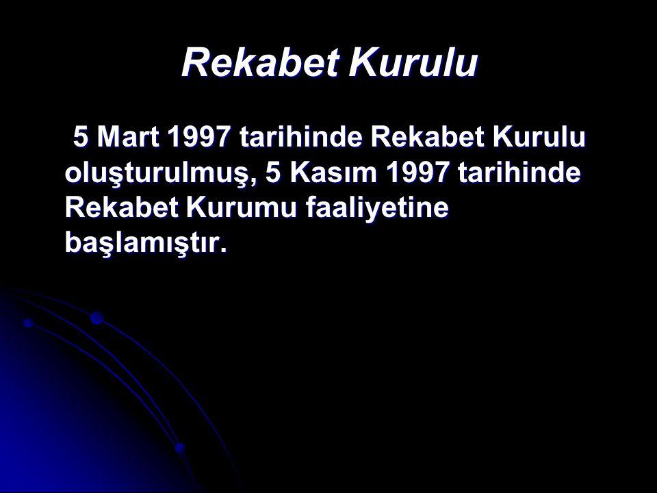 Rekabet Kurulu 5 Mart 1997 tarihinde Rekabet Kurulu oluşturulmuş, 5 Kasım 1997 tarihinde Rekabet Kurumu faaliyetine başlamıştır. 5 Mart 1997 tarihinde