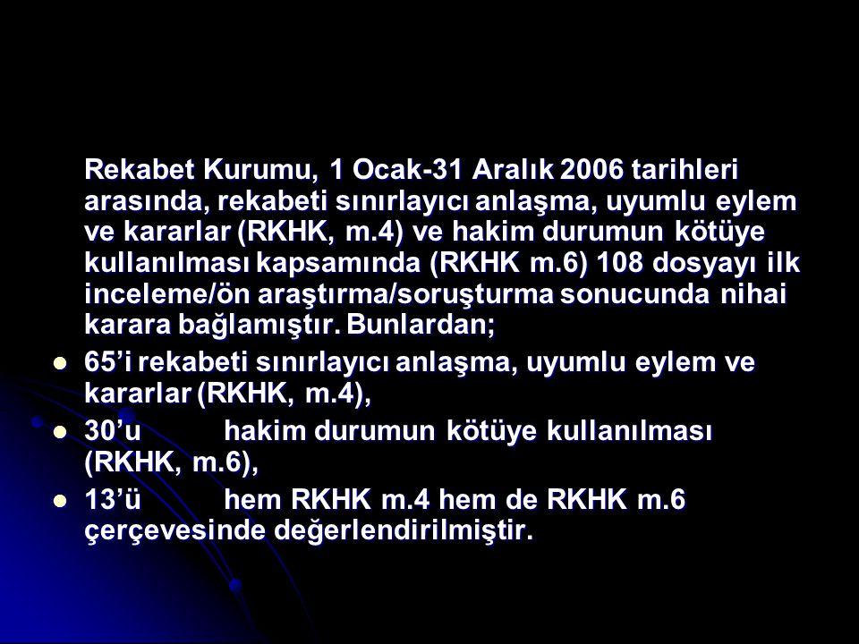 Rekabet Kurumu, 1 Ocak-31 Aralık 2006 tarihleri arasında, rekabeti sınırlayıcı anlaşma, uyumlu eylem ve kararlar (RKHK, m.4) ve hakim durumun kötüye k